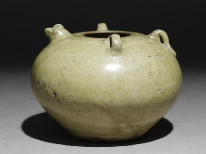 Greenware jar with chicken head and tailoblique