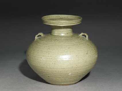 Greenware vase, or hu, with impressed decorationoblique