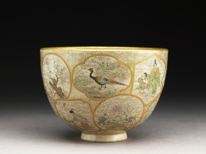 Satsuma tea bowl with animals, plants, and figuresside