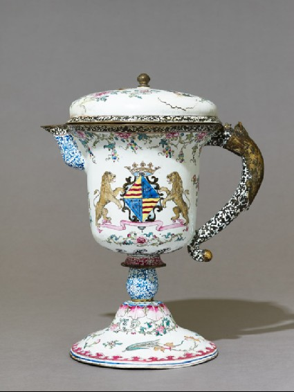 Armorial jug in European shapeside