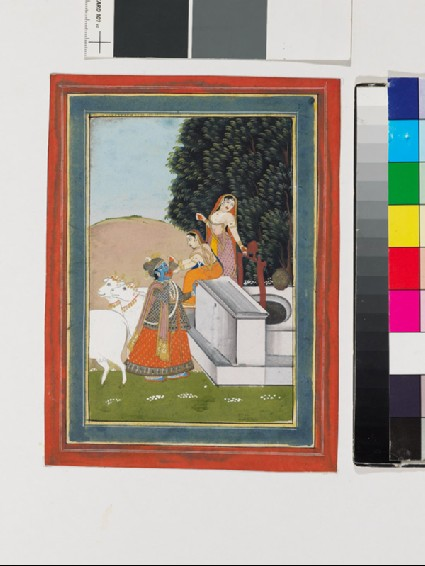 Women giving drink to Krishna at a wellfront