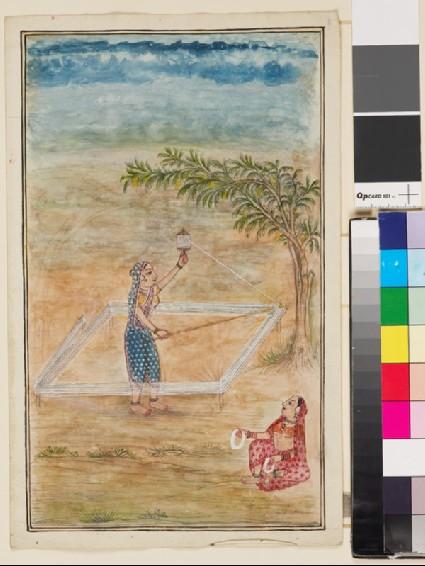 Two women preparing yarn under a treefront