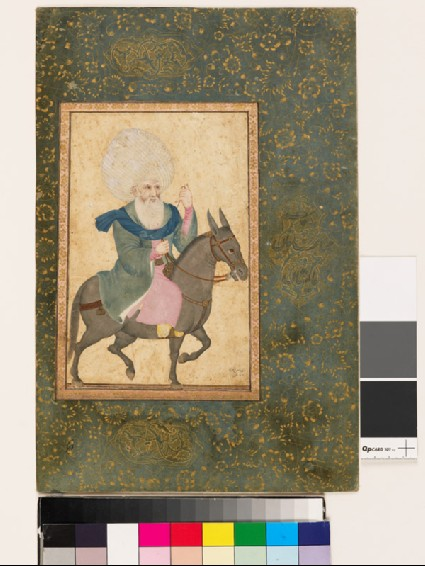 Page from a dispersed muraqqa', or album, depicting a holy man on a mulefront