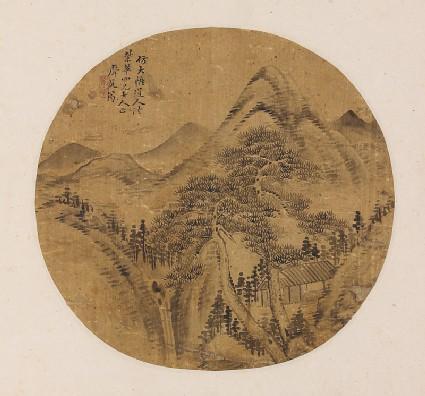 Mountain landscape with a buildingfront