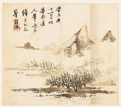 Landscape with a mountain and shrubsfront