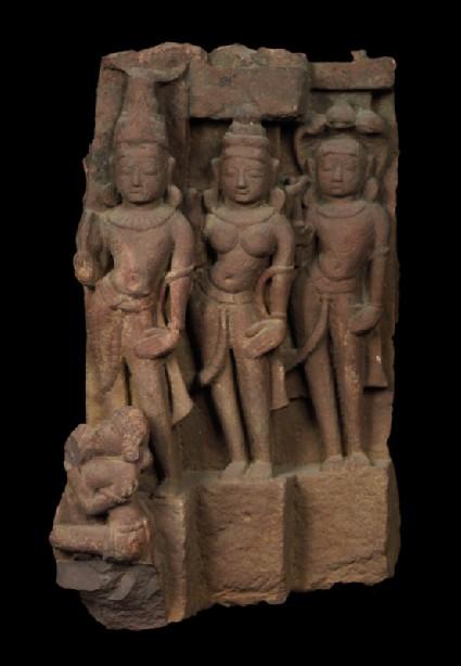 Fragment of a donor group possibly depicting Vasudeva, Subhadra, and Balaramaoblique