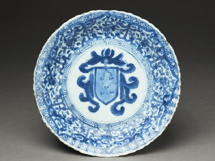 Blue-and-white dish with the Portuguese arms of Pintotop