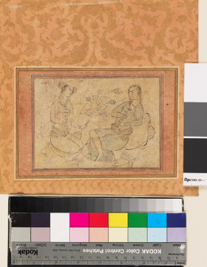 Page from a dispersed muraqqa', or album, depicting two seated youthsfront