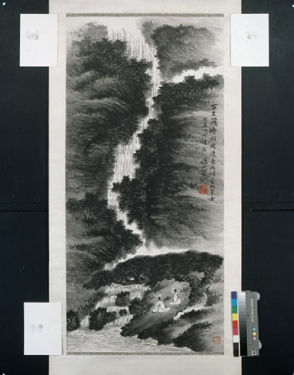 Waterfall landscape with figuresfront, painting only