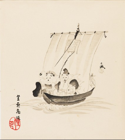 The gods Daikoku and Ebisu on a takarabune, or treasure shipfront