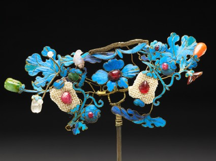 Hairpin with birds and flowersfront