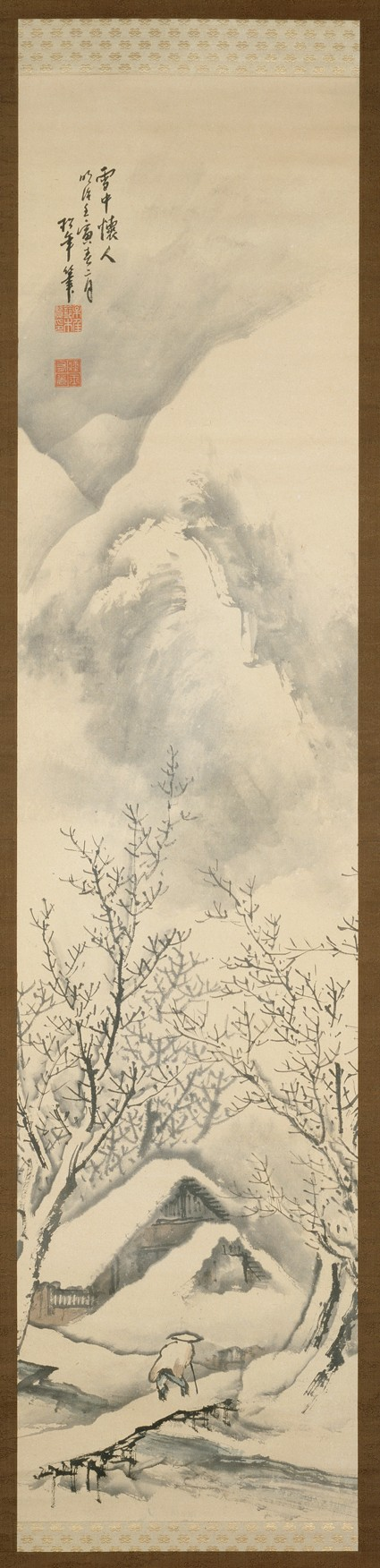 Snowscape depicting a man walking towards a hermitagefront, painting only