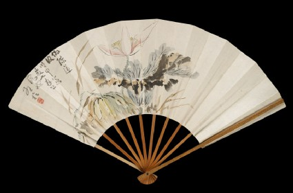 Fan with lotus flowerfront