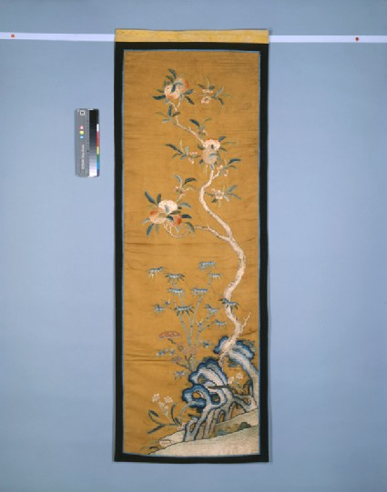 Furnishing panel with peach tree, possibly from a screenfront