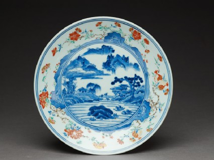 Dish with river scenetop