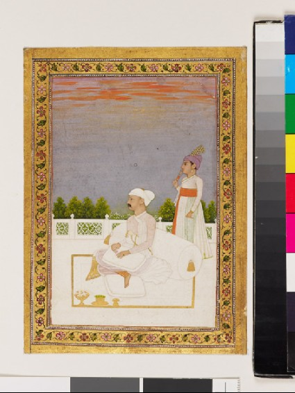 Nobleman, possibly Mir Qasim, seated on a terrace with attendantfront