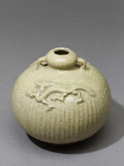 Greenware jar with dragons in reliefoblique