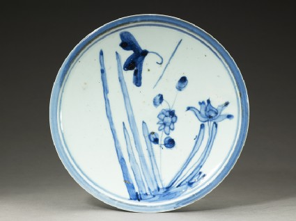 Plate with butterfly and flowerstop