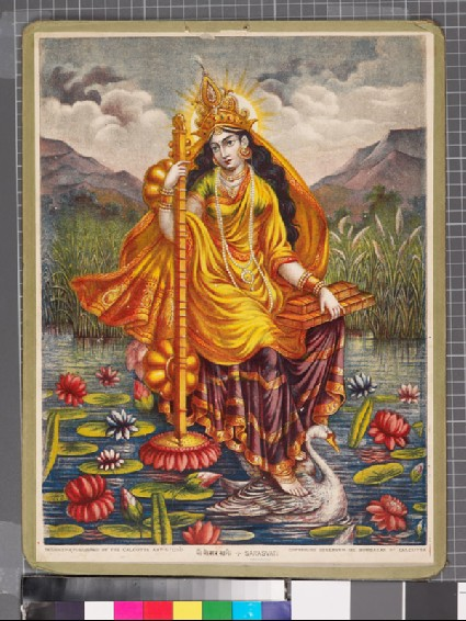 Sarasvati with vina and books, mounted on a swanfront