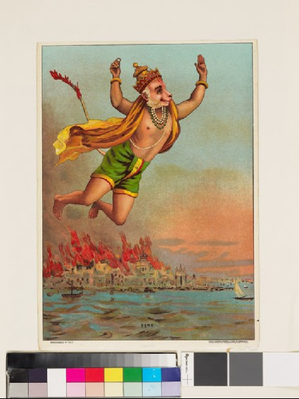Hanuman, the monkey king, flying with his tail on fire over the burning palace of Ravanafront