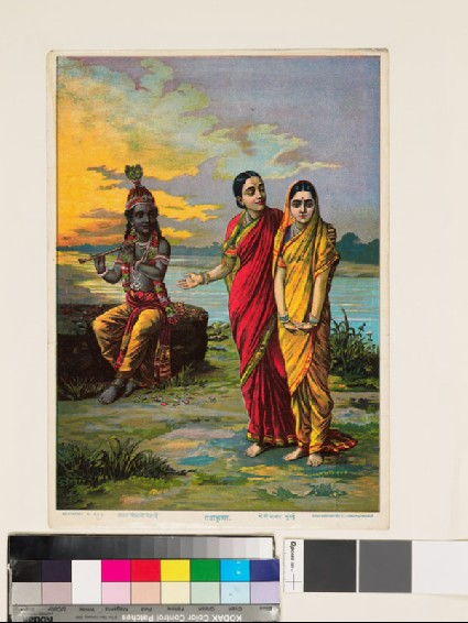 A sakhi, or confidante, indicates to Radha the beauty of Krishna the Flautist, or Muralidhara-Krishnafront