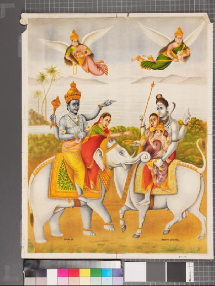 Vishnu and Lakshmi, mounted on an elephant, meet Shiva, Parvati, and the child Ganesha mounted on Nandifront