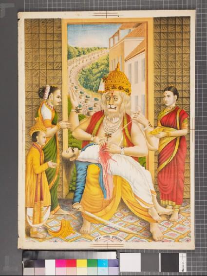Narasimha disembowelling the demon Hiranyakashipufront