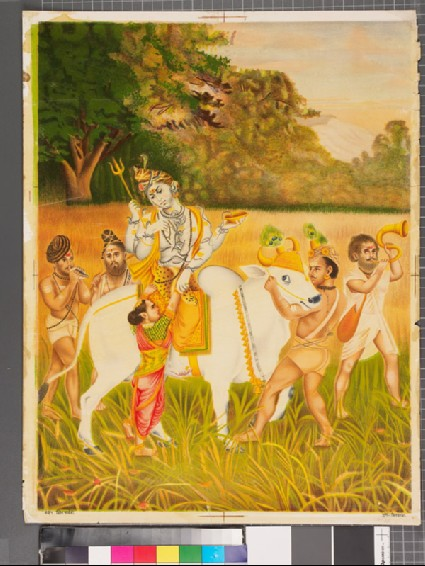Shiva helping Parvati up onto Nandi's back, attended by asceticsfront