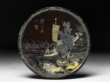 Lacquered disc with river scenefront