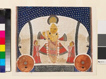 Krishna as Shrinathji playing a flutefront