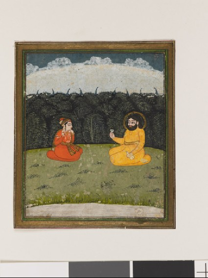 Two figures seated by a woodfront