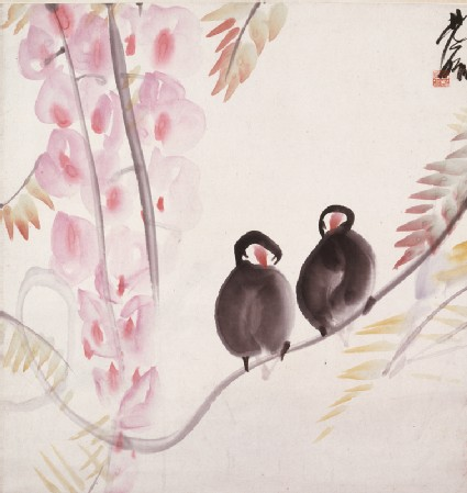 Pair of Java Sparrowsfront, painting only