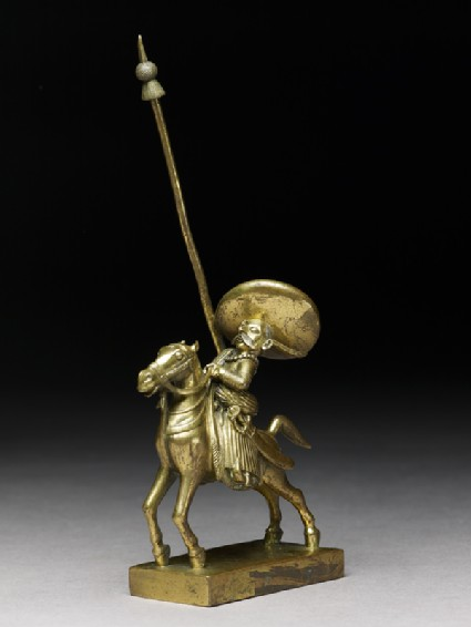 Toy soldier with horse and lanceside