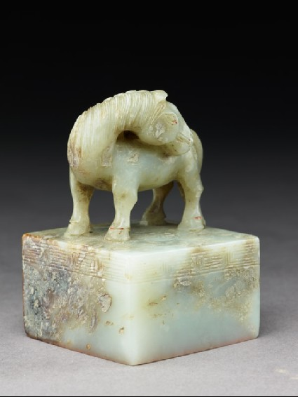 Jade seal surmounted by a horseside