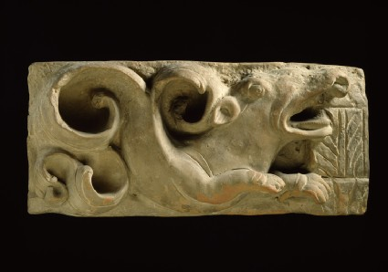 Plaque with a makara, or aquatic monsterfront