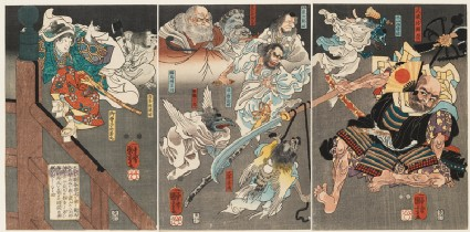 Minamoto Yoshitsune fights Benkei on Gojō Bridge, with the help of tengu demonsfront