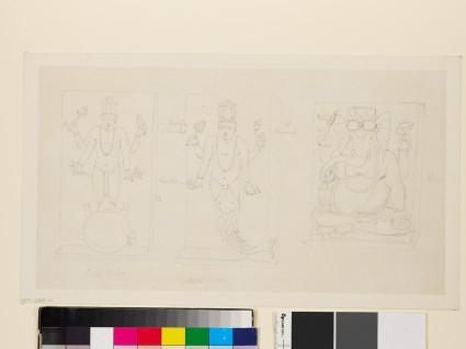 Drawing of three reliefs depicting the deities Matsya, Kurma, and Ganeshafront