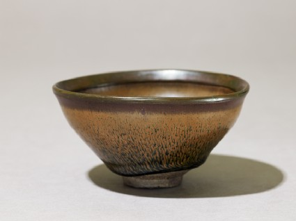 Black ware tea bowl with 'hare's fur' glazeoblique