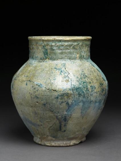Storage jar with iridescent glazeside