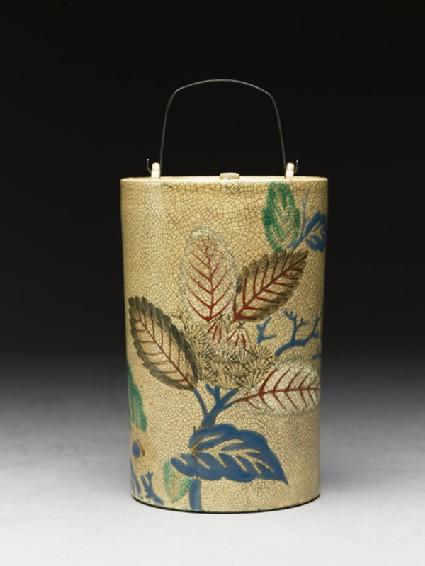 Sake bottle with leavesside