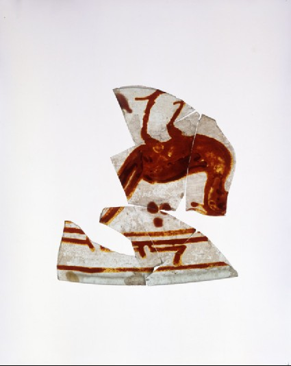 Vessel fragment with bird and calligraphyoblique
