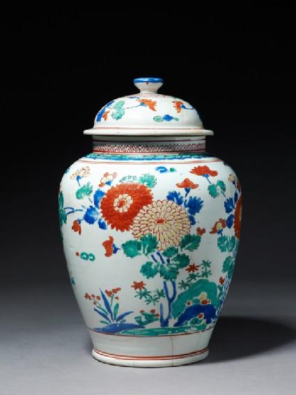 Baluster jar with flowersside