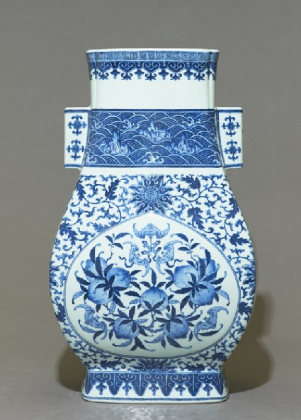 Blue-and-white vase with fruit and leavesside