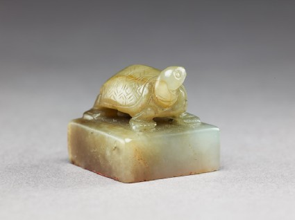 Jade seal surmounted by a tortoiseoblique