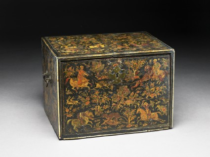 Writing cabinet decorated with hunting scenesoblique