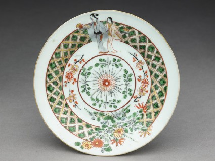 Saucer with two bijin, or beautiful womentop