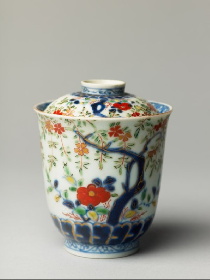 Lidded cup with trees and flowersoblique