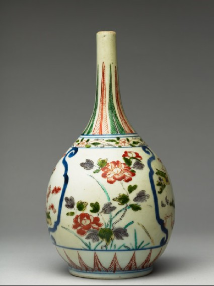 Bottle with temple scenes and floral decorationside