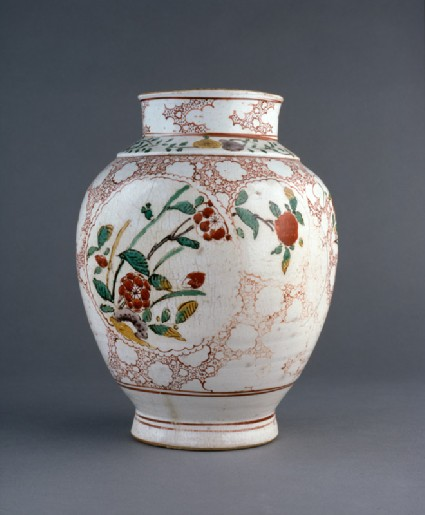 Jar with medallions depicting prunus sprays and grassesside