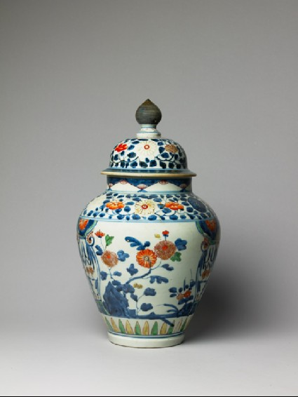 Baluster jar with chrysanthemum, peony, and prunus flowersside